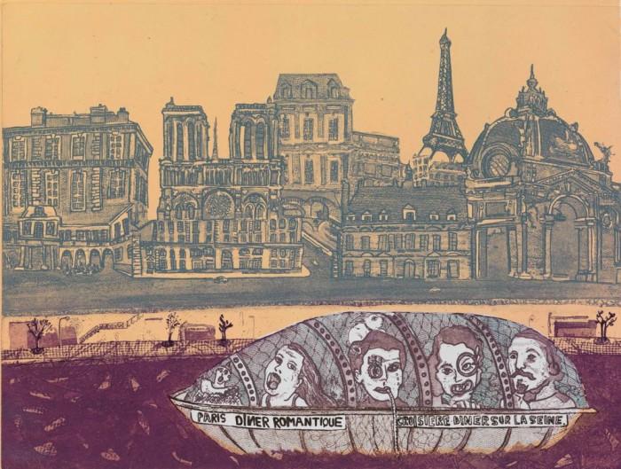 La Seine, 2014, gravure 25 X 33 cm.